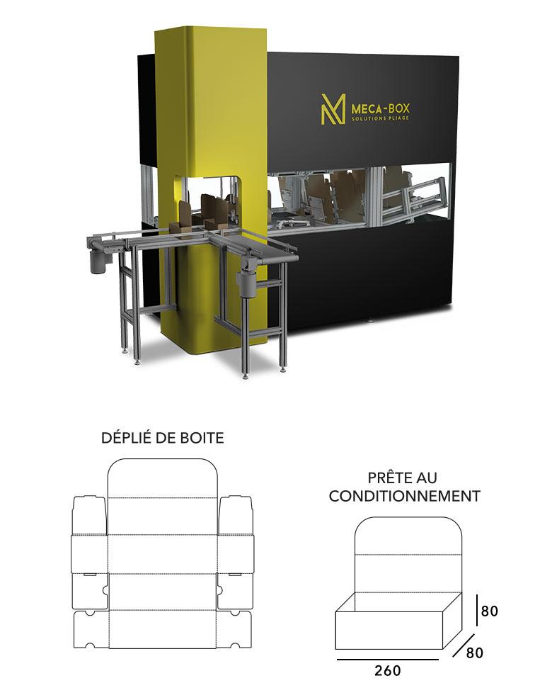 MECA-BOX formeuse de carton automatique ( fefco0470 ) développée par Mecaconcept