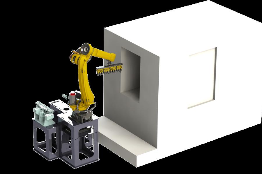 robot de chargement de machines de centres d'usinage - étude mecaconcept